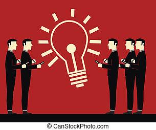 homem negócios, reunião, idéia