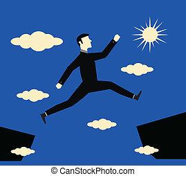 homem negócios, risco, salto