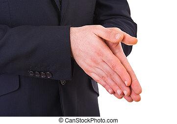 homem negócios, rubbing, seu, junto., mãos
