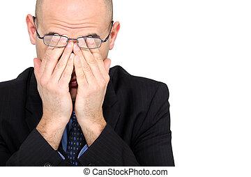 homem negócios, rubbing, seu, olhos, cansadas