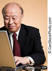 homem negócios, sênior, asiático