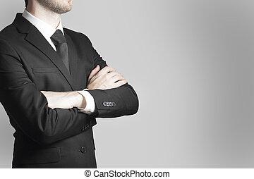homem negócios, saliência, braços cruzados, trabalho, aviso