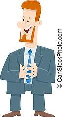 homem negócios, saliência, personagem, caricatura, ou