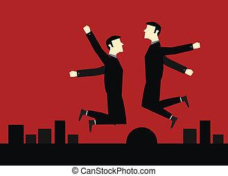 homem negócios, salto, feliz