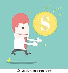 homem negócios, salto, receber, dinheiro