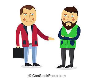 homem negócios, saudação, sócio, concept., negócio, meeting., colegas, dizer, adeus, ou, hello., aperto mão, men., comunicação, homens, businessmen., negócio, entre, pessoas