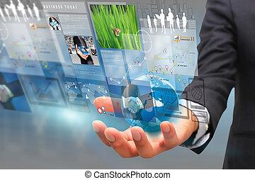 homem negócios, screen.business, conceito, virtual, trabalhando
