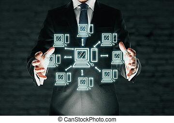 homem negócios, segurando, abstratos, rede computador