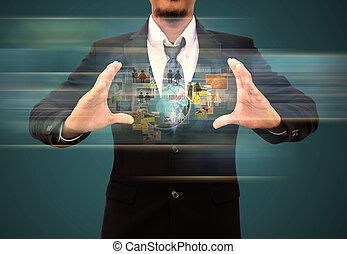 homem negócios, segurando, alcançar, imagens, streaming, em, mãos