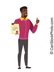 homem negócios, segurando, certificado, africano-americano