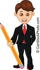 homem negócios, segurando, lápis