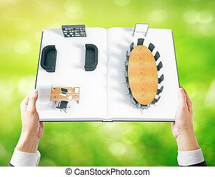 homem negócios, segurando, livro, com, interior