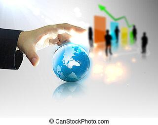 homem negócios, segurando, negócio, mundo