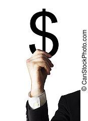 homem negócios, segurando, símbolo dólar