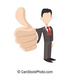 homem negócios, segurando, seu, polegares cima, ícone