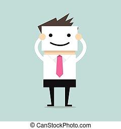 homem negócios, segurando, sorrizo, máscara