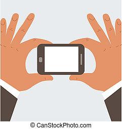 homem negócios, segurando telefone móvel