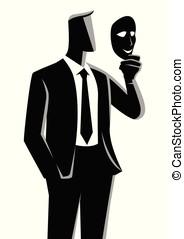 homem negócios, segurando, um, máscara, frente, seu, rosto