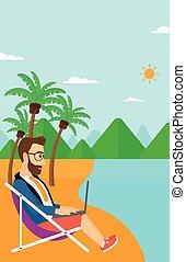 homem negócios, sentando, em, lounge chaise, com, laptop.
