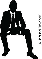 homem negócios, sentando