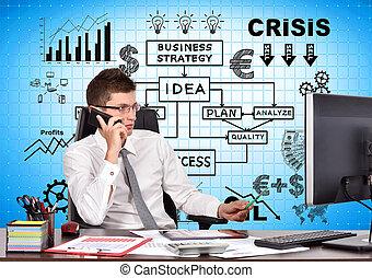 homem negócios, sentar-se escritório, com, telefone