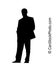 homem negócios, silueta