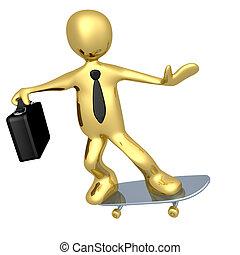 homem negócios, skateboard