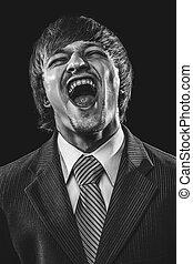 homem negócios, sobre, difícil, pretas, rir