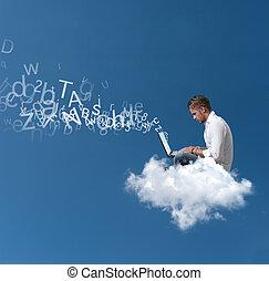 homem negócios, sobre, trabalhos, nuvem