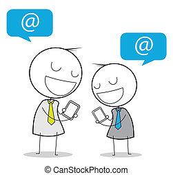 homem negócios, social, mídia