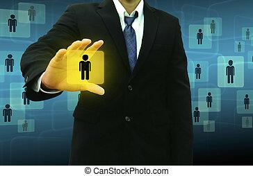 homem negócios, social, rede, segurando, ícones