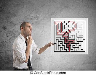 homem negócios, soluções, labirinto