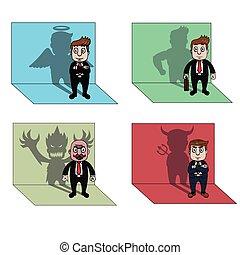 homem negócios, sombra, ilustração