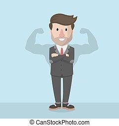 homem negócios, sombra, muscular
