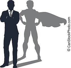 homem negócios, sombra, superhero