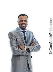 homem negócios, sorrindo, afro-american