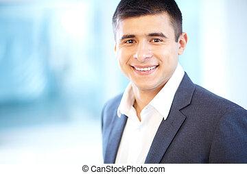 homem negócios, sorrindo