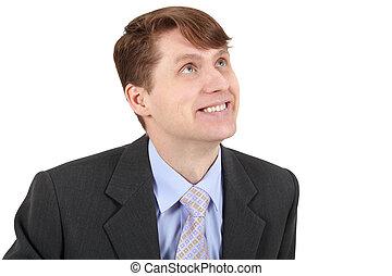 homem negócios, sorrindo, branca, isolado, fundo