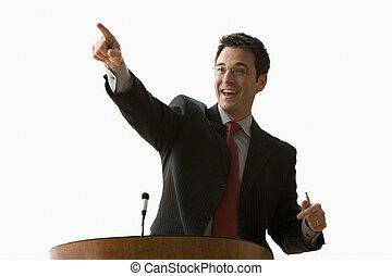 homem negócios, sorrindo, e, apontar, -, isolado
