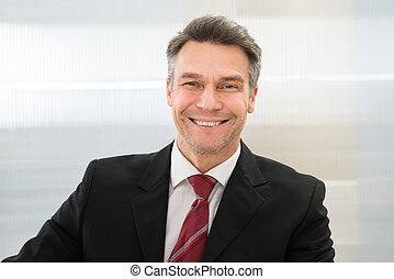 homem negócios, sorrindo, maduras