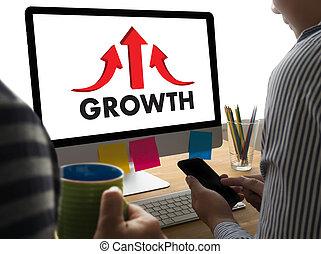 homem negócios, sucesso, aumento, crescimento, melhorar, seu, habilidades, e, fazer, coisas, melhor, para, melhoria, seta, cima