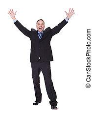 homem negócios, sucesso, celebrando