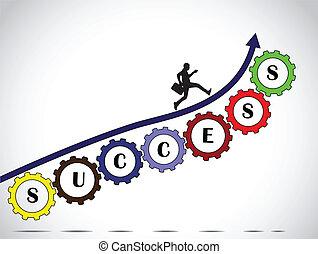 homem negócios, sucesso, seta, trabalho equipe