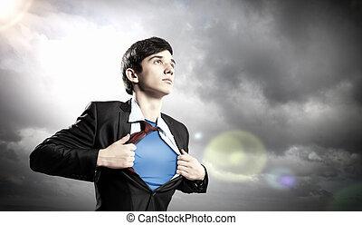 homem negócios, superhero, jovem