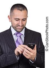 homem negócios, surfando, internet
