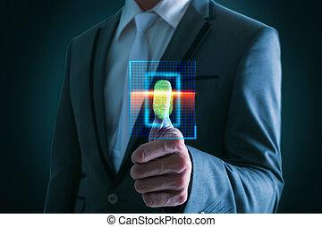 homem negócios, technology., código, barra alta, varredura, ...