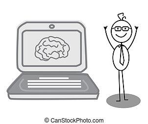 homem negócios, tecnologia, cérebro