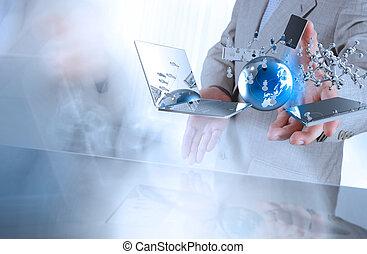 homem negócios, tecnologia, conceito, modernos, mostra