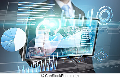 homem negócios, tecnologia, interface
