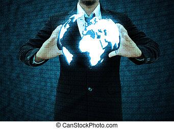 homem negócios, tecnologia, segurando, mundo